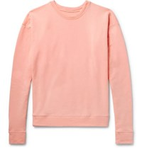 The Elder Statesman Fleece Back Cotton Jersey Sweatshirt Pink