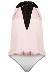 Andrea Marques V Neck Bodysuit Pink And Purple