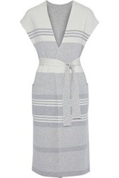 Akris Woman Belted Striped Cashmere Cardigan Stone