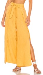 1.State 1. State Tie Front Split Seam Wide Leg Pant In Yellow. Gold Sun
