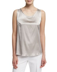 Peserico Scoop Neck Charmeuse Shell Stone Grey