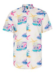 Topman Blue Abstract Floral Print Short Sleeve Casual Shirt
