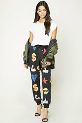 Forever 21 French Terry Emoji Sweatpants Black