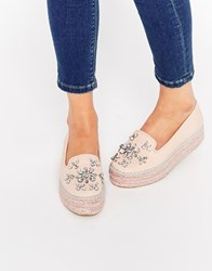 Carvela Lolly Nude Leather Embellished Espadrille Flatform Shoes Nude Pink
