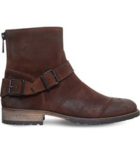 Belstaff Trailmaster Leather Biker Boots Taupe