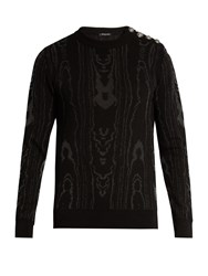 Balmain Moire Effect Cotton Blend Knit Sweater Black