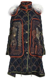 Peter Pilotto Shearling Trimmed Embroidered Shell Hooded Coat Navy