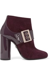 Lanvin Buckled Suede And Patent Leather Ankle Boots Grape