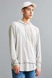 Feathers Destructed Double Layer Hooded Long Sleeve Tee Grey
