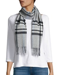 Lord And Taylor Plaid Cashmere Scarf Grey