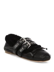 Miu Miu Double Strap Leather And Shearling Ballet Flats Black