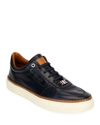 Bally Hens Burnished Leather Sneakers Dark Blue
