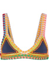 Kiini Tasmin Crochet Trimmed Triangle Bikini Top Storm Blue