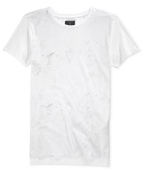 Guess Men's Graphic Print T Shirt Marble Grid True White