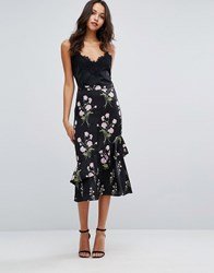 Warehouse Floral Printed Ruffle Midi Skirt Black