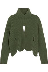 Antonio Berardi Cropped Cutout Wool And Cashmere Blend Turtleneck Sweater Army Green