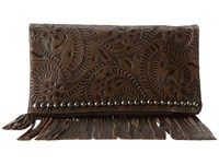 American West Rockabilly Folded Clutch Distressed Charcoal Brown Clutch Handbags