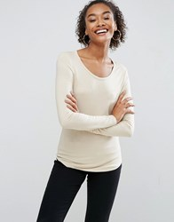 Asos T Shirt With Long Sleeve And Scoop Neck Stone