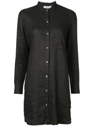 Frame Denim Oversized Shirt Women Linen Flax S Black