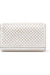 Christian Louboutin Paloma Spiked Patent Leather Clutch White