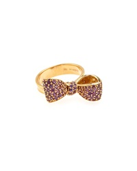 Mimi So 18K Amethyst Pave Small Bow Ring
