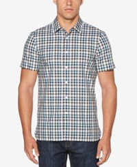 Perry Ellis Men's Plaid Shirt Bright White