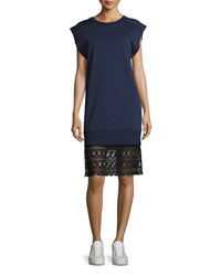 Public School Tesa Cotton Lace Shift Dress Dark Blue