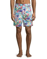Peter Millar Skull Ice Cream Swim Trunks Light Blue