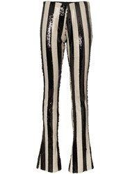 Marques Almeida Marques'almeida Stripe Embellished Sequin Trousers Black