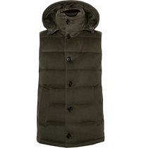 Mackintosh Hooded Wool Felt Down Gilet Green