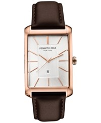 Kenneth Cole New York Men's Brown Leather Strap Watch 31X48mm 10030831 Rose Gold