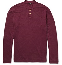 Steven Alan Slub Cotton Henley T Shirt Burgundy