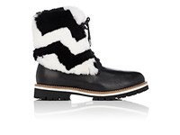 Mr And Mrs Italy Women's Leather Rabbit Fur Combat Boots Black White