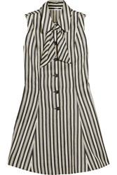 Mcq By Alexander Mcqueen Pussy Bow Striped Satin Twill Mini Dress White