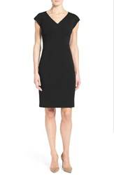 Classiques Entierr Women's Entier Ponte Knit V Neck Sheath Dress Black