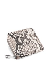 Aspinal Of London Mini Continental Zipped Coin Purse In Smooth Ivory And Natural Python Grey