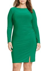 Lauren Ralph Lauren Plus Size Women's Side Ruched Jersey Sheath Dress Regent Green