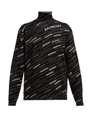 Balenciaga Logo Intarsia Wool Blend Sweater Black White
