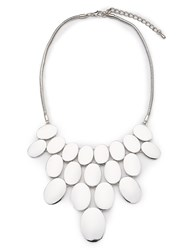 Jacques Vert Oval Drop Necklace Silver Metallic