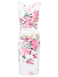 Jolie Moi Printed Ruched Shift Dress White Floral