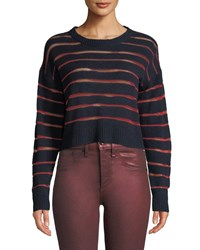 Rag And Bone Penn Cropped Sweater With Sheer Stripe Detail Navy
