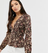 Glamorous Tall Tea Blouse In Vintage Floral Brown