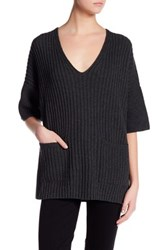 Lafayette 148 New York Ribbed V Neck Wool Pullover Gray