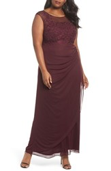 Decode 1.8 Plus Size Women's Embellished Ruched Jersey Gown Wine