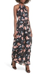 Everly Halter Maxi Dress Black Watercolor Floral Print