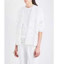 Brunello Cucinelli Sequin And Lace Embellished Open Knit Cardigan White