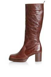 Topshop Pop Art Limited Edition Leather Boots Tan