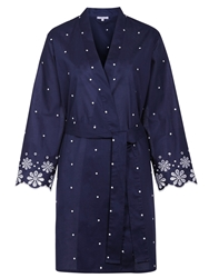 John Lewis Dobby Embroidered Hem Robe Navy