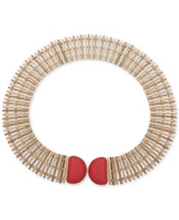 Anne Klein Gold Tone Red Stone Wide Collar Necklace