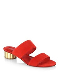 Salvatore Ferragamo Belluno Flower Heel Suede Slide Sandals Black Lipstick Red